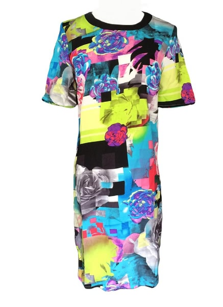 Buy Fashion Colorful Print Short Sleeve Mini T-shirt Dress