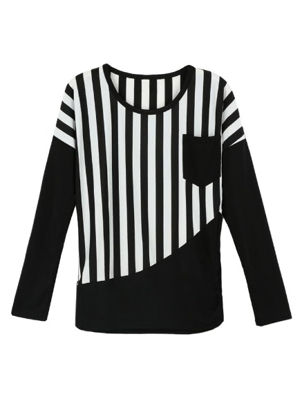 Buy Casual Stripe Patchwork Chest Pocket Round Neck Long Sleeve T-Shirt