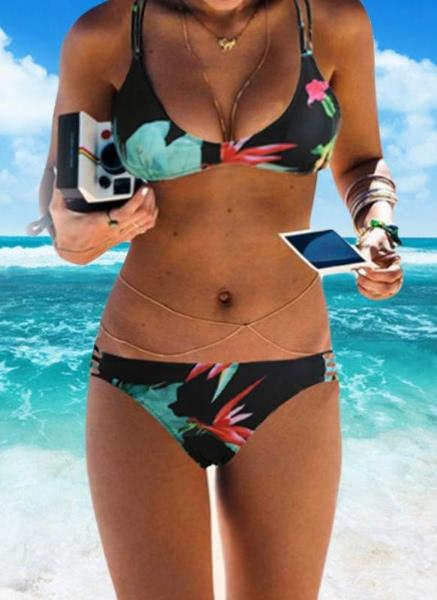 Buy Halter Floral Print Wireless Padded Bikini