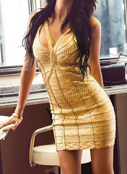 Buy Gold Worshiper Bandage Dress
