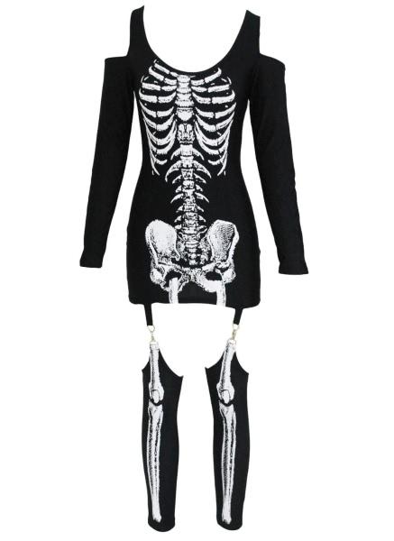 Buy X-rayed Halloween Off-shoulder Skeleton Dress Costume