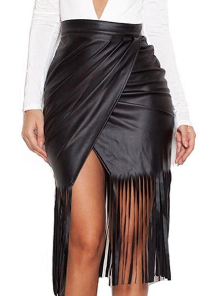 Buy High Waist Split Front Faux Leather Fringe Skirt