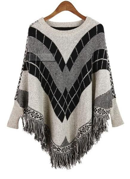 Buy Batwing Patterned Poncho Sweater