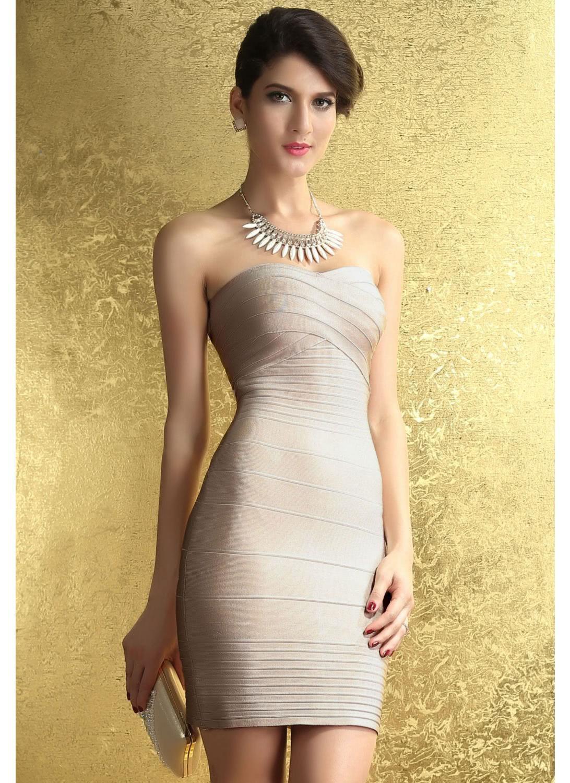 Buy Nude Strapless Evening Dinner Bandage Dresses