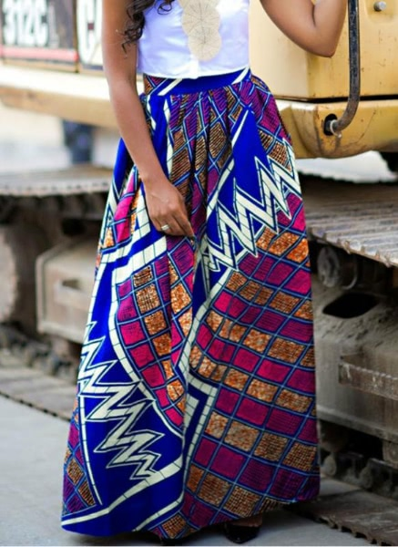 Buy Women Skirt African Print Ankara Dashiki Bohemian High Waist Pleated A-Line Maxi Flare