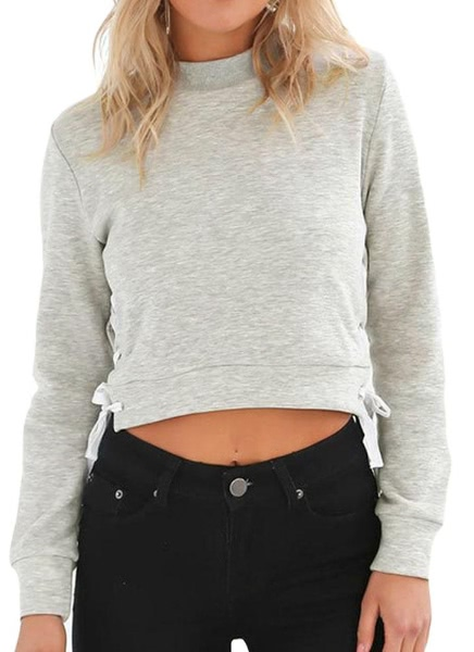 Buy Lace Side Solid Color Long Sleeve Crop Top