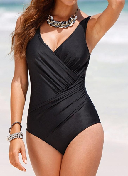 Buy Vintage Plus Size Ruffled Backless Monokini Swimsuit