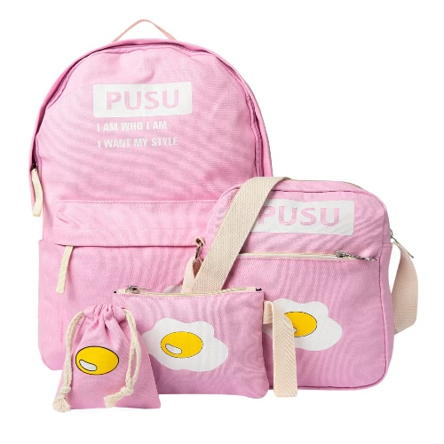 Print Candy Color Preppy Style Girl Backpack Set