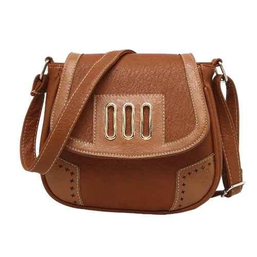 New Fashion Women Shoulder Bags PU Leather Magnetic Snap Closure Hollow Out Contrast Vintage Shell Crossbody Bag