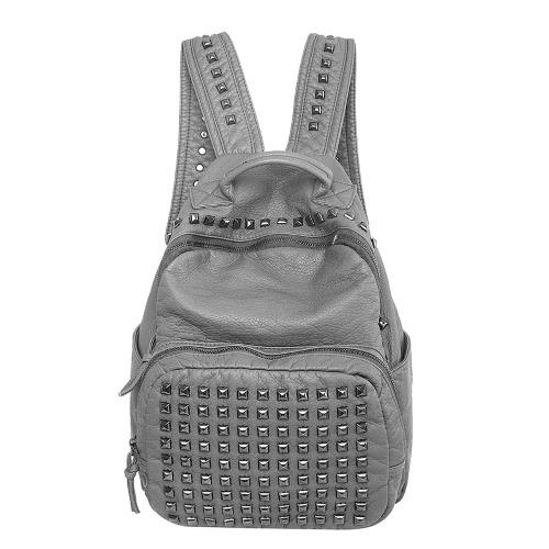 Fashion Soft PU Rivets Zipper Grab Handle Top Pockets Backpack