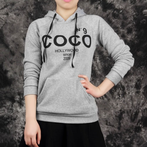 Letter Print Long Sleeve Hooded Sweatshirt