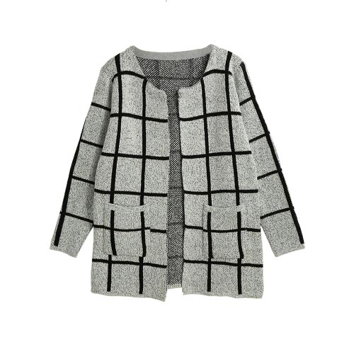 Pocketed Open Front Casual Knitted Sweater Cardigan