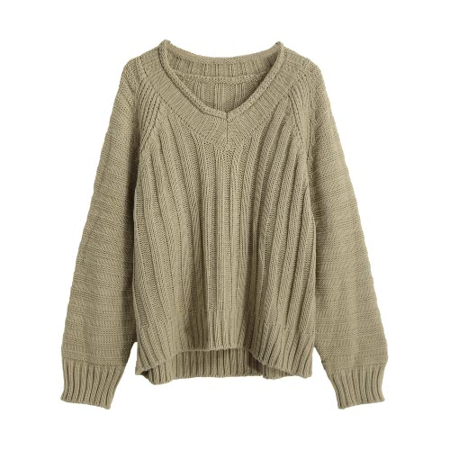 New Fashion Women Knitted Sweater Vertical Horizontal Stripes V-Neck Raglan Sleeves Loose Warm Pullover Tops