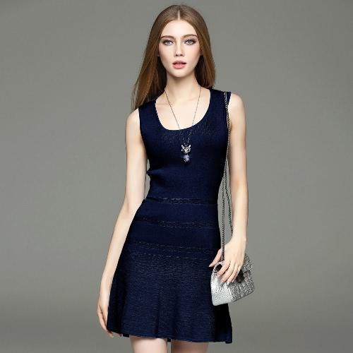 Elegant Summer O-Neck Sleeveless Solid Color Cute Sweater Mini Dress