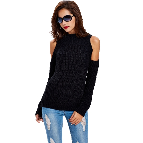 Turtle Neck Cold Shoulder Vertical Stripes Sweater