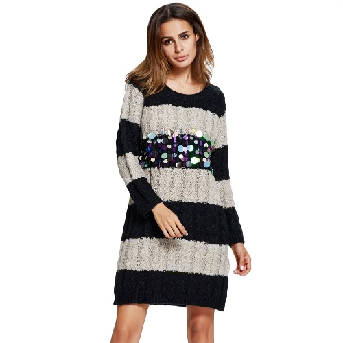 Sequin Stripe Contrast Twist Knitted Loose Sweater Dress