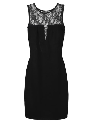 Sexy Floral Lace Insert Round Neck Sleeveless Slim Bodycon Dress