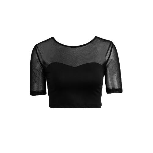 Women Crop Top Mesh Short Sleeve Tops
