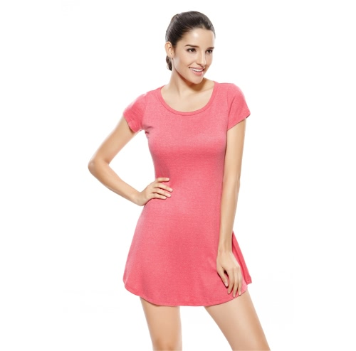 Casual Short Sleeve Candy Color One-piece Slim Basic Mini Dress