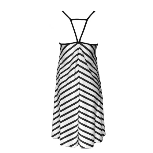 Fashion Contrast Stripe V-Neck Backless Spaghetti Strap White Beach Dress