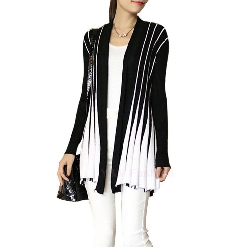 Fashion Open Front Contrast Stripe Long Sleeve Slim Knitted Cardigan