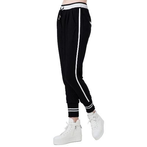 Fashion Stripe Elastic Waistband Drawstring Pockets Yoga Sport Harem Pants