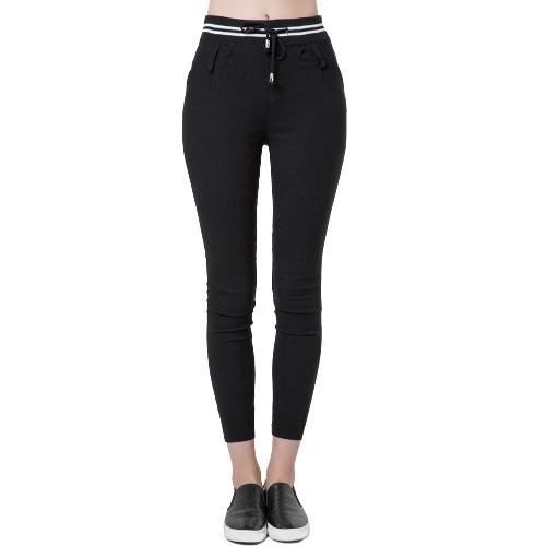 Casual Elastic Waist Drawstring Slim Pencil Sports Pants