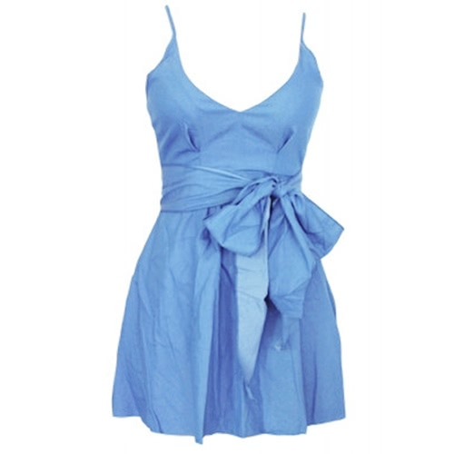 Sexy V Neck Spaghetti Bowtie Mini Dress