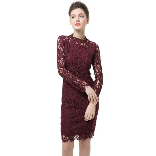 Mini Lace Long Sleeve Bodycon Burgundy Dress