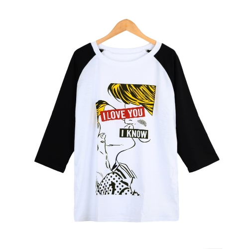 Cartoon Print Contrast Color Half Sleeve Plus Size White T-shirt