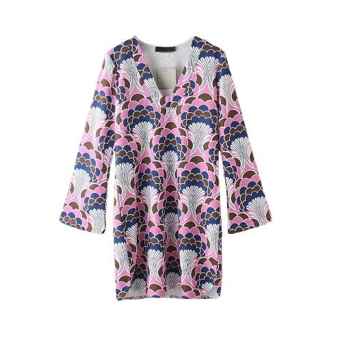 New Fashion Women Dress Special Print V Neck Long Flare Sleeve Split Irregular Hem Dress Pink