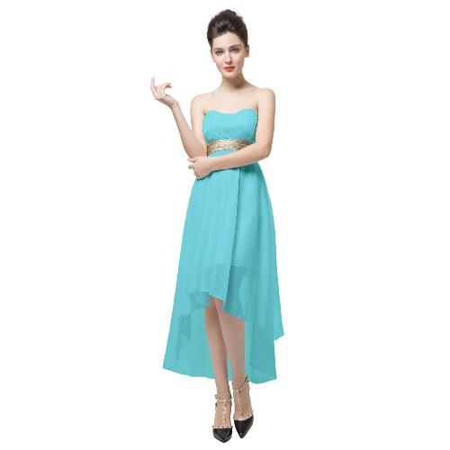 Lace Bandeau Off Shoulder Open Back Irregular Hem Sexy Dress