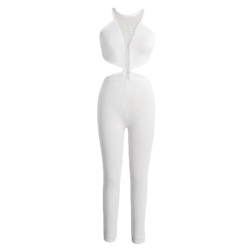 Sexy Mesh Cut Out Sleeveless Bodycon Solid Club Jumpsuit