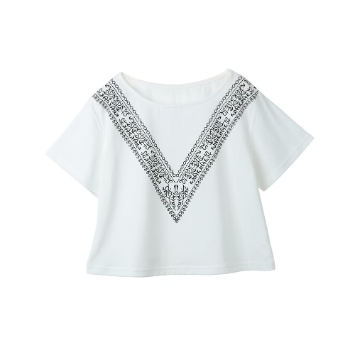 Summer Contrast V Print Short Sleeve O Neck Cropped Boxy White T-Shirt