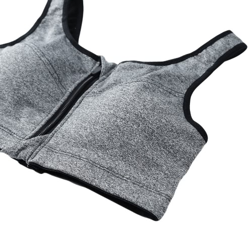 Fashion Front Zipper Back Strap Padded Stretch Breathable Sports Bra Top