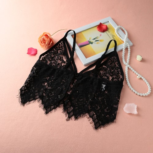 Sexy Sheer Lace Mesh Tassel Hollow Out Adjustable Strap Bralette Cami
