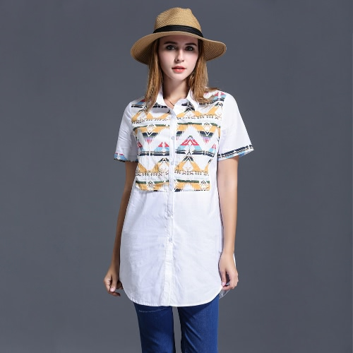 Trendy Geometric Print Short Sleeve Asymmetrical Hem Plus Size White Blouse