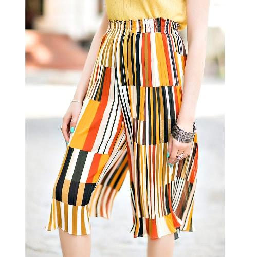 Chic Contrast Color Stripe Pleated Chiffon Capris Cropped Wide Leg Pants