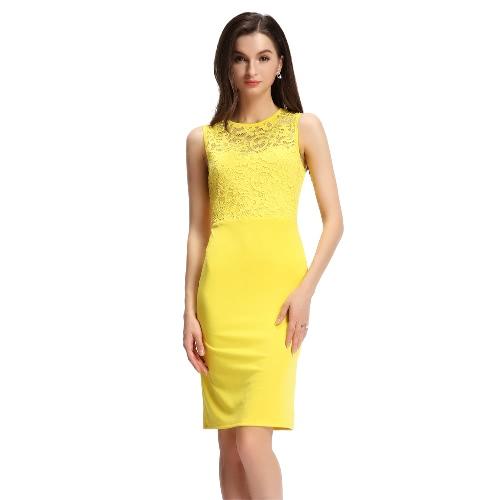 Sexy Lace Splice Cut Out Back Slim Sleeveless Bodycon Yellow Mini Dress