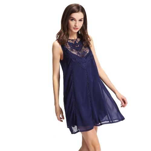 Chic Lace Splicing Hollow Out Crochet Mesh Sleeveless Chiffon Shift Dress