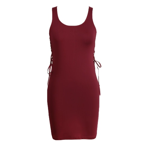 Sexy Lace Up Scoop Short Mini Bodycon Dress