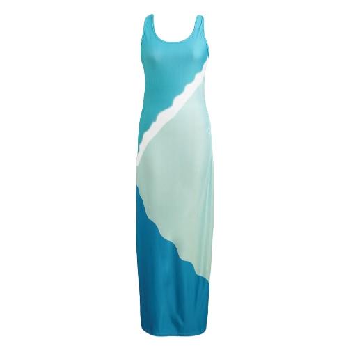 Special Print Ruched Color Block Maxi Dress