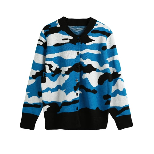 Camouflage Pattern Button O-Neck Sweater