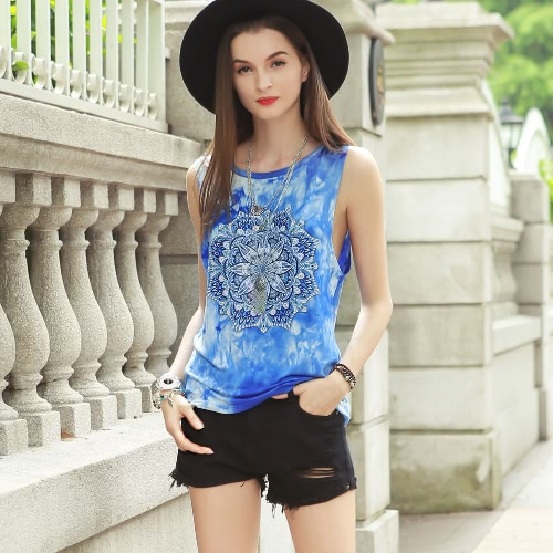 Print O Neck Casual T-Shirt Tank Top