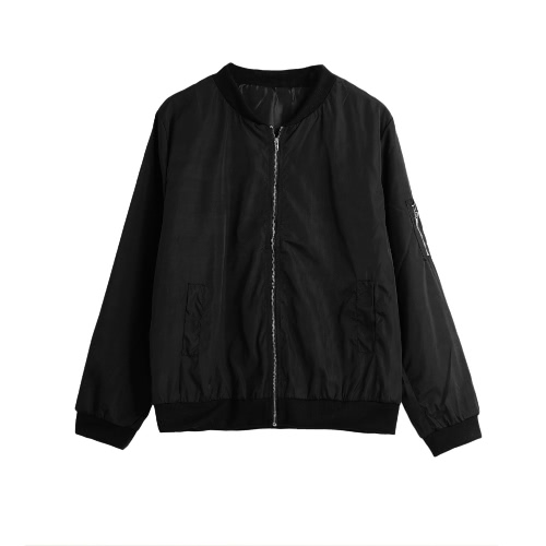 Slim Short Zipper Bomber Jacket