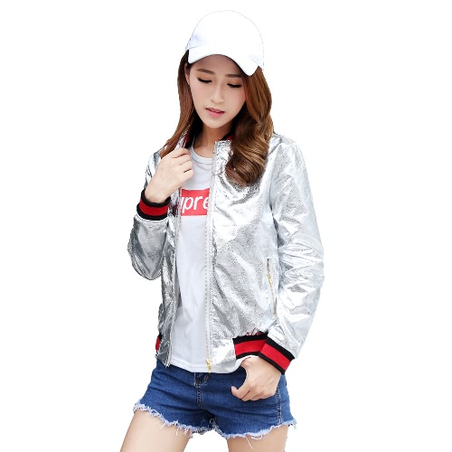 PU Leather Pockets Baseball Coat Jacket