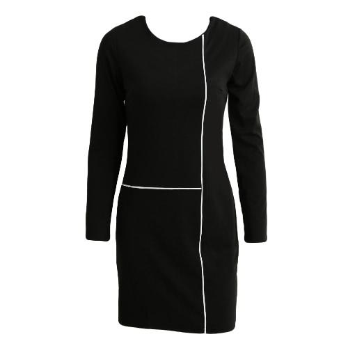 Solid Contrast Stripe O-Neck Skinny Party Dress