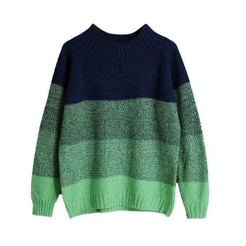 Contrast Color Block Turtleneck Casual Loose Sweater