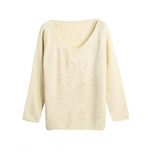 Solid Color V-Neck Casual Loose Warm Pullover Sweater