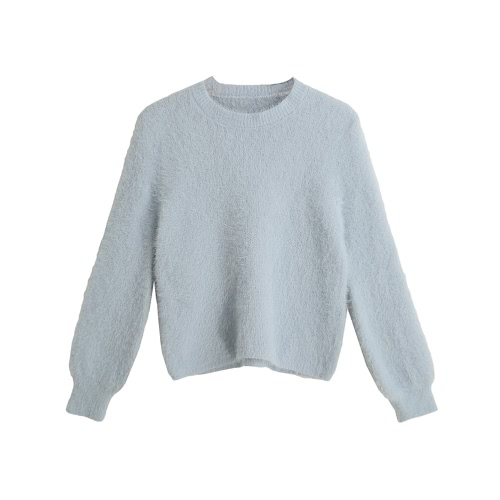 Solid Color O-Neck Long Sleeve Casual Thick Sweater
